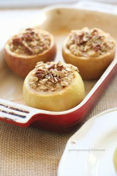 Apple Cinnamon Baked Oatmeal (in an Apple!)  I have every intention of baking these in a dutch oven next week!!