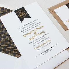 Signature Wedding Invitation - Pennant Label by Papela