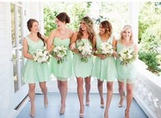 Short Mint Bridesmaid Dresses with different necklines with gold shoes and accessories.