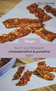 Whoop! Whoop! Hier kommt Veganer Bacon! Ich war wirklich nie ein Fan von Speck oder ähnlichen tierischen Lebensmitteln. Mir war das immer zu Fett und ich mochte den Geruch von Geräucherten überhaupt nicht. Aber jetzt als Veganer bin ich Bacon Fan! Warum das? Genau wegen diesem Rezept: Veganer Bacon aus Reispapier. Knusprig, würzig, ganz ohne Fett und Tierleid. Der pflanzliche Bacon aus Reispapier eignet zum Knabbern. Er ist aber auch genial als Topping auf Burgern oder Spaghetti Carbonara. Burger, Fett, Spaghetti, Vegans, Vegane Rezepte, Noodle