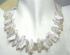 A+++ Rare and abnormal shape and white pearl necklace 18''