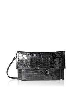 Nila Anthony Women's Croco Clutch, Black