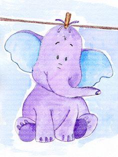 Cuadro bebe elefante de peluche, pintado a mano con pintura y acuarela, para la habitación o cuarto de los más pequeños de la casa