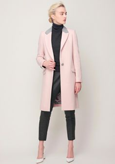 Wool Chesterfield Coat, Cashmere Wool Turtleneck, and Wool Georgette Tapered Pants