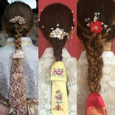 IDEA FOR FABRIC --- Screen print on sheers like chiffon to create lace-esque effects but in a more modern way Traditional Hairstyle, Korean Traditional Dress, Traditional Dresses, Korean Dress, Korean Outfits, Japanese Hairstyles, Korean Hairstyles, Men Hairstyles, Hanbok Wedding
