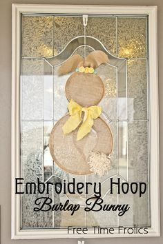 Embroidery Hoop Burlap Bunny Door and wall Decor. Easy step by step tutorial. Perfect for Easter Time decor. Make one for your wall in under an hour.