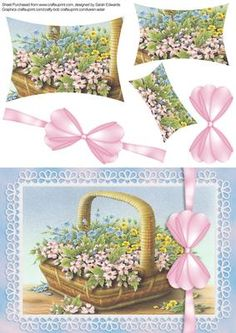 Basket of Flowers A5 Card on Craftsuprint designed by Sarah Edwards - An A5…