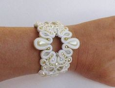 Soutache bracelet with crystal beads.Wedding.Ivory by EditBeadIt