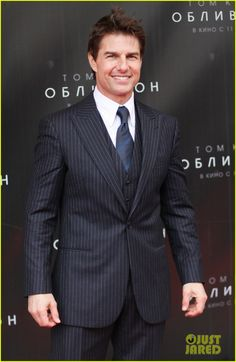 Tom Cruise #suits up in 3-piece pinstripe