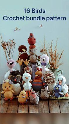 Crochet Flamingo, Crochet Birds, Crochet Animals, Diy Crochet Doll, Diy Doll, Crochet Toys, Stuffed Animal Patterns, Diy Stuffed Animals, Handmade Ideas