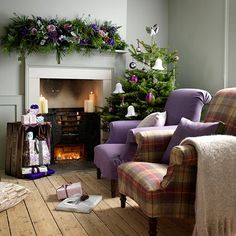 Cosy heather armchairs | Country Christmas living rooms | Living room | PHOTO GALLERY | Country Homes & Interiors | Housetohome.co.uk