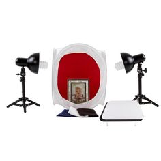 StudioPRO Table Top Retail Lighting Tent Complete Backgrounds, Display Table, Lights, Tent Kit perfect for the food and product photographer! This portable and affordable set is great for shooting food, products, and much more!