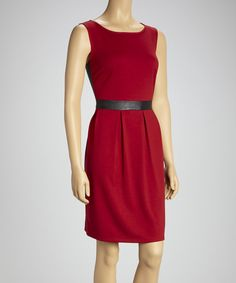 Take a look at this Tacera Wine & Black Pleated Sleeveless Dress on zulily today!