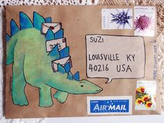 A gallery of mail-art created by me when I was just starting out. Mostly snail-mail envelopes on kraft paper, painted in gouache and watercolour. Mail Art Envelopes, Addressing Envelopes, Envelope Art, Envelope Design, Letter Writing, Letter Art, Snail Mail Pen Pals, Pen Pal Letters, Fun Mail