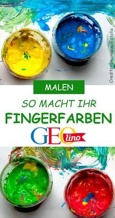Wie ihr Fingerfarben ganz einfach selber machen könnt, zeigen wir euch in dieser Anleitung auf GEOlino.de! #malen #fingerfarbe #farben #selbermachen #diy #malenmitkindern #malstunde #anleitung