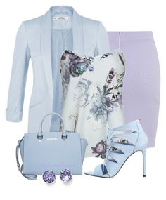 PRETTY IN PASTELS by arjanadesign on Polyvore featuring Miss Selfridge, Ted Baker, Madden Girl, MICHAEL Michael Kors, L. Erickson, Bling Jewelry and WorkWear