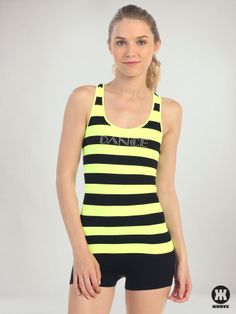"""Dance"" Rhinestone Black Stripe Racerback Tank   Kurve Shop #KurveDancewear#KURVE #KurveShop #Dance"