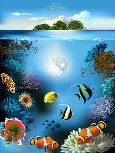 Buy Underwater World by on GraphicRiver. The underwater world with fish and plants Underwater Animals, Underwater Painting, Underwater World, Sea Life Art, Sea Art, Ocean Drawing, Tres Belle Photo, Fish Drawings, Beach Canvas