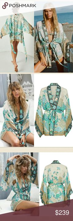 Spell designs cloud dancer short kimono porcelain Brand new with tag. Sold out Cloud Dancer short kimono in porcelain blue & green rose peacock floral print by spell designs swim byron bay and the gypsy collective. OS One size. No trade please. The price is firm & reflects high % posh fee A classic Spell design that has the essence of modern flair, the highly coveted Cloud Dancer Short Kimono has a fluid shape and a luxurious porcelain colourway, your Summer beach wardrobe is sorted. Pair…