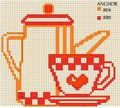 coffee cup Cross Stitch Designs, Cross Stitch Patterns, Swedish Embroidery, Stitch Doll, Cross Stitch Collection, Simple Cross Stitch, Plastic Canvas Crafts, Christmas Cross, Diy Wall Art