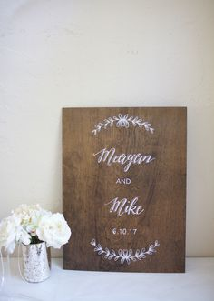 Dark stained plywood custom sign for wedding or home welcome. Names and date. Hand painted to your choice of design, format, and font.  Housewarming, wedding or anniversary gift.
