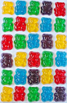 Gummy Bears Recipe 3 oz flavored gelatin (do not use sugar-free) 1 envelope oz) unflavored gelatin cup cold water tsp citric acid (optional, for sour gummies) Bear-shaped candy molds (like this one) Making Gummy Bears, Sour Gummy Bears, Gummi Bears, Kreative Snacks, Yummy Treats, Sweet Treats, Bar A Bonbon, Make Your Own, Make It Yourself