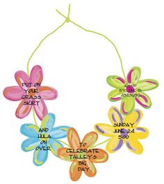 3-D die cute lei invitation! So cute for luau, graduation or spring socails! LOVE! Can actually wear to the party.