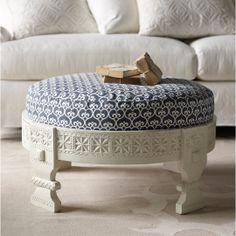 Custom Upholstered Chakki in Designer Fabrics | Serena & Lily. Ottoman mango wood