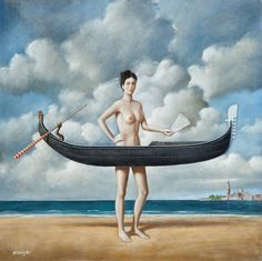 Internationally acclaimed Surrealist painter, Rafal Olbinski, will showcase his work at two new galleries in SoHo in a show entitled The Virtue of Ambiguity, opening December, Little Girl Pictures, Spiritual Paintings, Rene Magritte, Surrealism Painting, Art Moderne, Imagines, Cool Paintings, Surreal Art, Fantasy Art