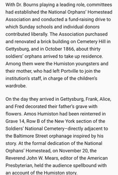 The National Orphanage in Gettysburg is opened in 1866; the Humiston's arrive in Gettysburg and visit their fathers grave at the newly created Soldier's National Cemetery in Gettysburg