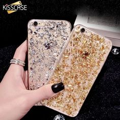 KISSCASE Case For iPhone 7 6 6S Plus 5 5S SE Bling Glitter Sequin Silicone Case For Samsung Galaxy S8 S8+ S7 Edge AJ 2017 Cover