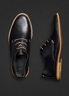H.E. by Mango, leather round toe shoe