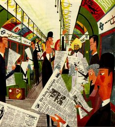 Sasek, Miroslav - The London Underground. These people have room to move about and read their papers. That doesn't happen on the London Underground during peak hour. It's body to body, armpit to armpit. Art And Illustration, Illustrations Posters, Vintage Poster, Vintage Children's Books, Vintage Hats, London Underground, Underground Tube, Poster S, Animation