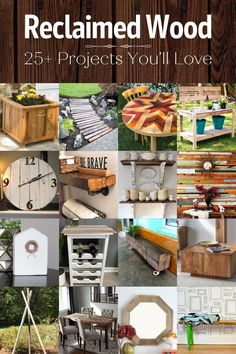 If you've always wanted to do some reclaimed wood projects, then this collection is for you. I can't get enough of these cool repurposed barn wood projects – I want to try them all! Repurposed Wood Projects, Barn Wood Projects, Diy Pallet Projects, Upcycled Crafts, Pallet Ideas, Buy Reclaimed Wood, Diy Tufted Headboard, Pallet Home Decor, Wood Craft Patterns