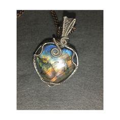Labradorite gemstone pendant #ZodiacLeo #Scorpio #Sagittarius (13.360 HUF) ❤ liked on Polyvore