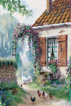 The farmers courtyard Canvas Art - Reint Withaar. Garden Painting, Garden Art, Painting & Drawing, Cottage Art, Beautiful Paintings, Landscape Art, Creative Art, Folk Art, Watercolor Paintings