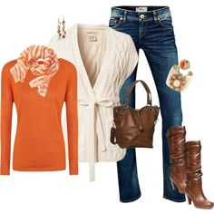 """Fall/Orange"" lose those the boots and pair with  ..."