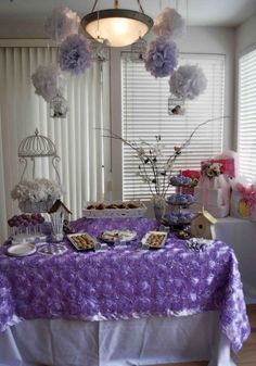 Lavender baby shower idea.  Who says all girl baby showers have to be pink?