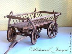 Миниатюрные модели ручной работы. Ярмарка Мастеров - ручная работа. Купить Модель телеги (миниатюра 1:10). Handmade. Коричневый, телега