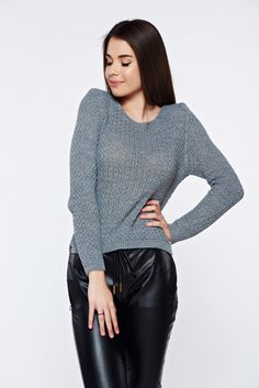 Grey casual knitted asymmetrical sweater with easy cut, asymmetrical cut, easy cut, long sleeves, knitted fabric, women`s sweater