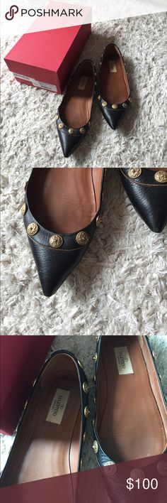 Valentino special edition flats with gold coin Oldies but goodies, authentic and these flats had been used heavily but still have a lot of lives in it. Valentino Garavani Shoes Flats & Loafers