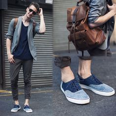 Coach Shades, Coach Backpack, Uniqlo Blazer, Cos Store T Shirt, J Brand Pants, H Sneakers