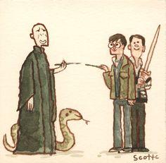 Harry Potter - Scott Campbell Reimagines Famous Movie Showdowns