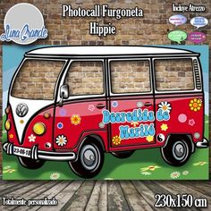 Photocall furgoneta hippie roja con cuatro ventanas 70s Party, Retro Party, Party Props, Party Themes, Flower Power Party, Woodstock Photos, Reunion Decorations, Photo Cutout, Green Jeep
