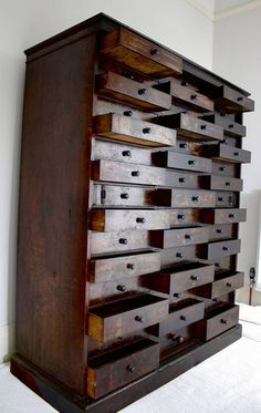 Exceptional Antique Storage Cabinet Apothecary Style