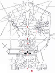 Plan of Versailles, France, begun 1661, by Le Nôtre and Le Vau, 1-Town, 2-Palace, 3-Orangery, 4-Gardens, 5-Bassin of Apollon, 6-Grand canal, 7- Grand Trianon. Versailles consists of a central axis with a series of cross axes which creates the framework for the layout of the highly organized palace and garden. The palace creates one of the cross axes off of the central axis.