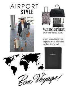 """""""Off the runway to the airway """" by cococecil on Polyvore featuring Grown Alchemist, Chanel, Vera Bradley, FOSSIL, GetTheLook, Vote and airportstyle"""