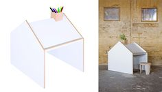 House drawing table, with a chimney pencil holder...by ninetonine.
