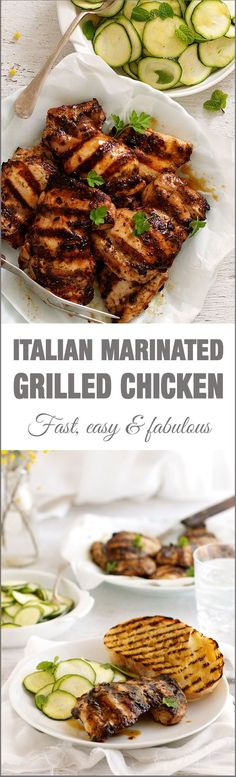 Italian Marinated Grilled Chicken with Zucchini - using a marinade that doubles as a dressing is a nifty way to make midweek meals even faster! Marinated Grilled Chicken, Grilled Chicken Recipes, Chicken Meals, Diabetic Chicken Recipes, Healthy Recipes, Italian Dressing Chicken Marinade, Chicken Dressing, Grilling Recipes, Chicken
