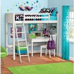 Twin Bunk Loft Bed over Desk with Ladder Kids Teen Bedroom White Wood Furniture #YZ